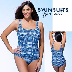 NWT in Package Melbourne Square-Neck Swimsuit Blue